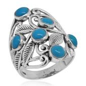 Bali Legacy Collection Arizona Sleeping Beauty Turquoise Sterling Silver Openwork Ring (Size 6.0) TGW 2.44 cts.