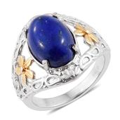 Lapis Lazuli ION Plated YG and Stainless Steel Floral Split Ring (Size 6.0) TGW 7.20 cts.