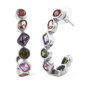 Multi Gemstone Stainless Steel J-Hoop Earrings TGW 13.07 cts.