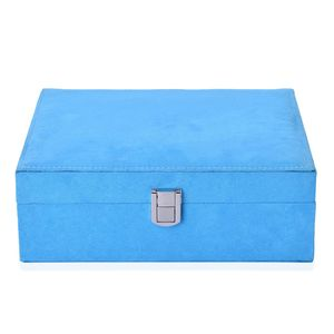 Sky Blue Velvet Jewelry Box (9.2x7.3x3.3 in)