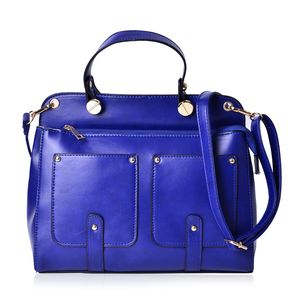 Blue Faux Leather Satchel with Removable Shoulder Strap (11x4x8.5 in)