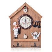 House Shape Clock with Keychain Holder (10.5x7 in) (AA Battery Not Included)