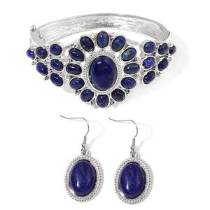 Lapis Lazuli Silvertone & Stainless Steel Bangle (7 in) and Earrings TGW 65.00 cts.