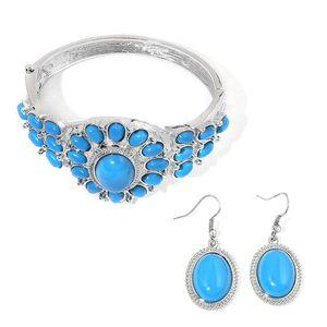 Blue Howlite Silvertone Bangle (7 in) and Earrings TGW 65.00 cts.