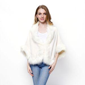 White Elegant Faux Fur Stole Wrap Shrug with Inner Clip