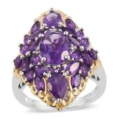 Lusaka Amethyst, Cambodian Zircon 14K YG and Platinum Over Sterling Silver Elongated Ring (Size 6.0) TGW 6.95 cts.