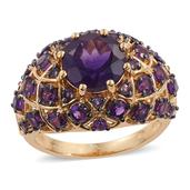 Lusaka Amethyst 14K YG Over Sterling Silver Dome Ring (Size 6.0) TGW 5.91 cts.