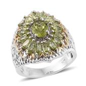 Hebei Peridot 14K YG and Platinum Over Sterling Silver Ring (Size 8.0) TGW 3.95 cts.