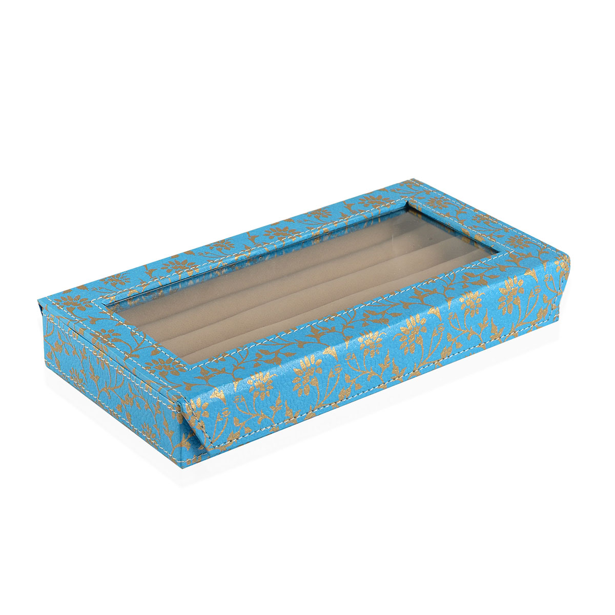 Eco Leatherette Turquoise Floral Printed 50 Slot Ring Box