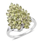 Hebei Peridot Platinum Over Sterling Silver Ring (Size 7.0) TGW 3.50 cts.