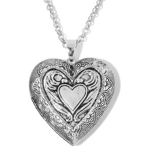 Silvertone Engraved Angel Heart Locket Pendant With Chain (28 in)