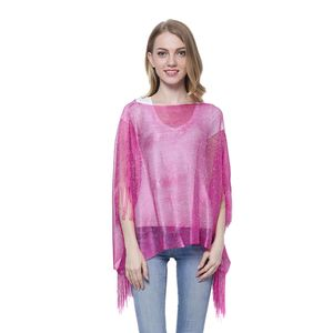 Fuchsia 100% Polyester Silver Thread Poncho with Fringe