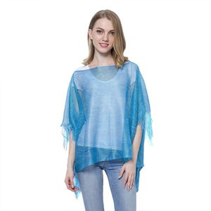 Turquoise 100% Polyester Silver Thread Poncho with Fringe