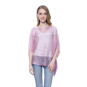 Blush Pink 100% Polyester Silver Thread Poncho with Fringe