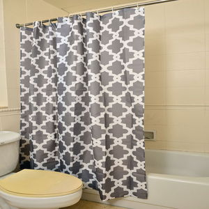Gray 100% Polyester Waterproof Moroccan Print Shower Curtain Set (72x72 In)