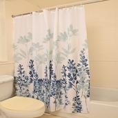 100% Polyester Waterproof Floral Print Shower Curtain Set (72x72 In)