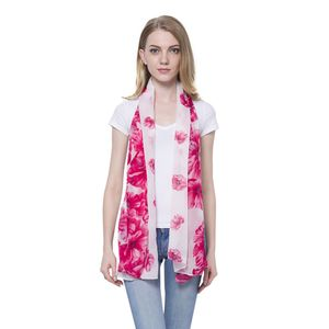 White with Magenta Flower Pattern 100% Polyester Scarf (68x28 In)