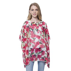 White with Pink Rose Pattern 100% Polyester Poncho (One Size)