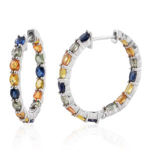 Multi Sapphire Platinum Over Sterling Silver Inside Out Hoop Earrings TGW 7.13 cts.