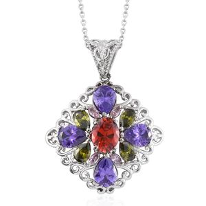 Simulated Multi Color Diamond Stainless Steel Pendant With Chain (20 in) TGW 12.80 cts.