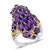 Lusaka Amethyst, Cambodian Zircon 14K YG and Platinum Over Sterling Silver Ring (Size 5.0) TGW 10.29 cts.