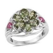 Forte Dauphin Apatite, Niassa Ruby Platinum Over Sterling Silver Openwork Floral Ring (Size 5.0) TGW 3.46 cts.