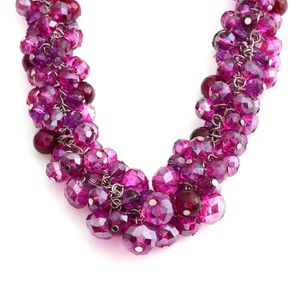 Fuchsia Glass Beads, Chroma Silvertone Bead Necklace (18-20 in)
