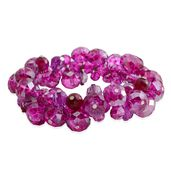 Fuchsia Glass Beads Bracelet (Stretchable)