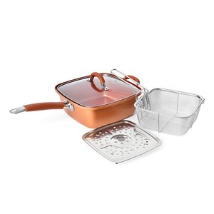 Copper Coated Square Pot with Glass Cover, Steam Rack and Deep Fryer (9.5 inches)