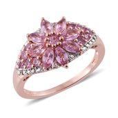 Madagascar Pink Sapphire, Cambodian Zircon 14K RG Over Sterling Silver Ring (Size 7.0) TGW 2.42 cts.