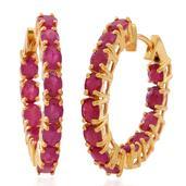 Burmese Ruby 14K YG Over Sterling Silver Inside Out Hoop Earrings TGW 4.00 cts.