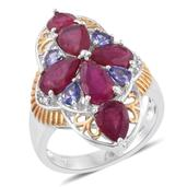 Niassa Ruby, Tanzanite, Cambodian Zircon 14K YG and Platinum Over Sterling Silver Ring (Size 8.0) TGW 7.76 cts.