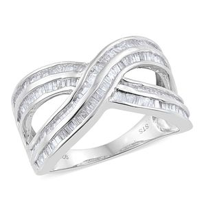 Diamond Platinum Over Sterling Silver Criss Cross Ring (Size 6.0) TDiaWt 1.00 cts, TGW 1.00 cts.