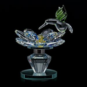 Home Decor Multi Color Glass, Rotatable Crystal Lotus Flower with Green Bird TGW 1320.00 cts.