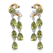 Hebei Peridot 14K YG and Platinum Over Sterling Silver Peacock Drop Earrings TGW 7.16 cts.