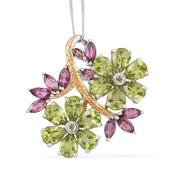Hebei Peridot, Orissa Rhodolite Garnet 14K YG and Platinum Over Sterling Silver Floral Pendant With Chain (20 in) TGW 11.05 cts.