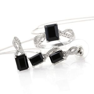 Thai Black Spinel, Cambodian Zircon Platinum Over Sterling Silver Earrings, Ring (Size 8) and Pendant With Chain (20 in) TGW 9.40 cts.
