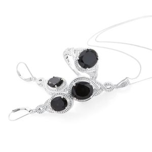 Thai Black Spinel Platinum Over Sterling Silver Lever Back Earrings, Ring (Size 7) and Pendant With Chain (20 in) TGW 17.45 cts.
