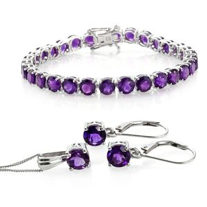 Nitin's Knockdown Deals Amethyst Platinum Over Sterling Silver Bracelet(7.50 In), Lever Back Earrings and Pendant With Chain (20.00 In) Total Gem Stone Weight 25.32 Carat
