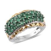 Kagem Zambian Emerald 14K YG and Platinum Over Sterling Silver Ring (Size 6.0) TGW 2.10 cts.