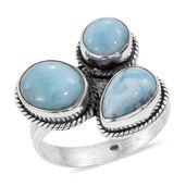 Artisan Crafted Larimar Sterling Silver Ring (Size 7.0) TGW 7.28 cts.
