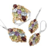 Multi Gemstone 14K YG and Platinum Over Sterling Silver Lever Back Earrings, Ring (Size 5) and Pendant With Chain (20 in) TGW 20.05 cts.