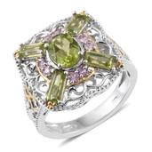 Hebei Peridot, Madagascar Pink Sapphire 14K YG and Platinum Over Sterling Silver Openwork Ring (Size 8.0) TGW 3.45 cts.