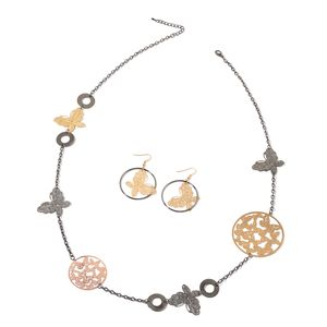 Dualtone Butterfly Earrings and Necklace Set (40 in)