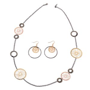 Multi-tone Wire Wheel Earrings and Necklace Set (40 in)