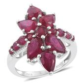 Niassa Ruby Platinum Over Sterling Silver Elongated Ring (Size 6.0) TGW 9.17 cts.