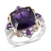 Lusaka Amethyst 14K YG and Platinum Over Sterling Silver Ring (Size 5.0) TGW 10.83 cts.