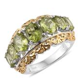 Hebei Peridot 14K YG and Platinum Over Sterling Silver Ring (Size 7.0) TGW 4.85 cts.