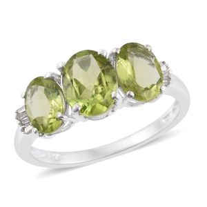Hebei Peridot, Diamond Platinum Over Sterling Silver Ring (Size 5.0) TDiaWt 0.05 cts, TGW 4.95 cts.