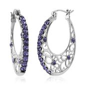 Stainless Steel Hoop Earrings Made with SWAROVSKI Blue Crystal